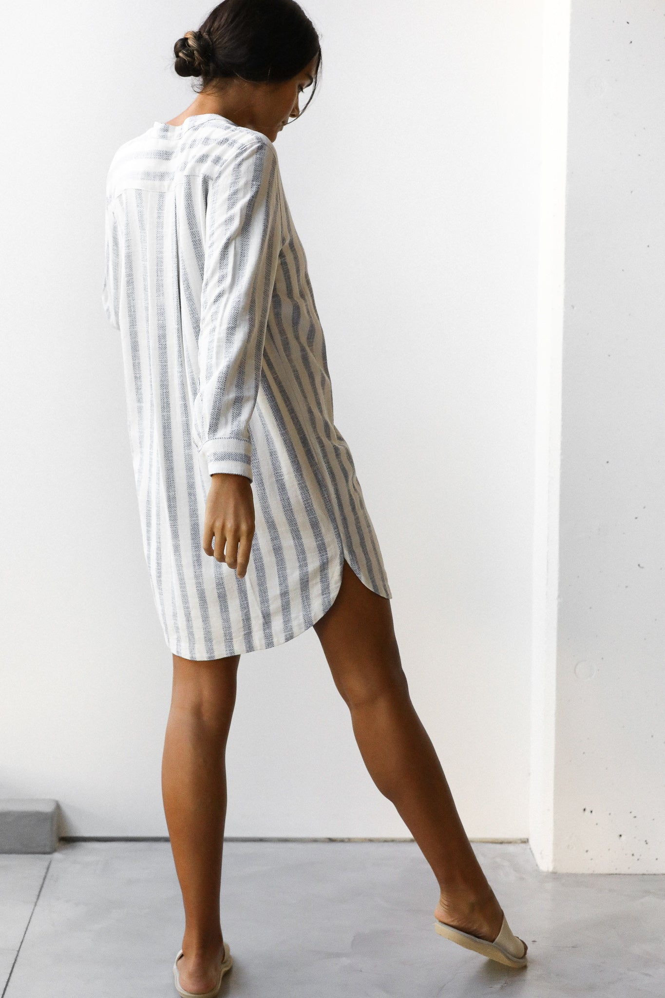 Stripe Shirt Short Dress