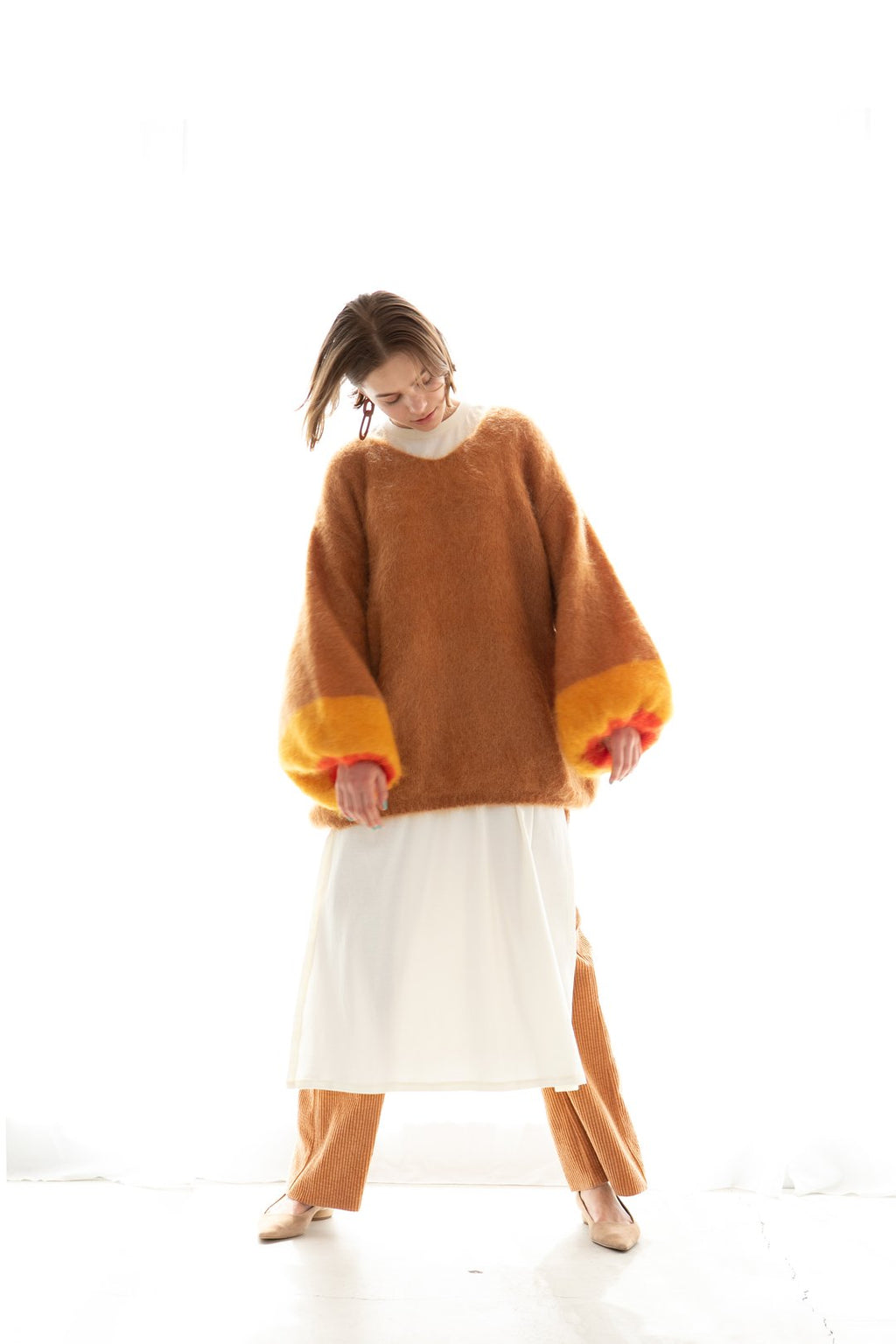 Bi-Color Mohair Pullover