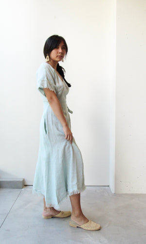 Linen Dolman Wrap Dress