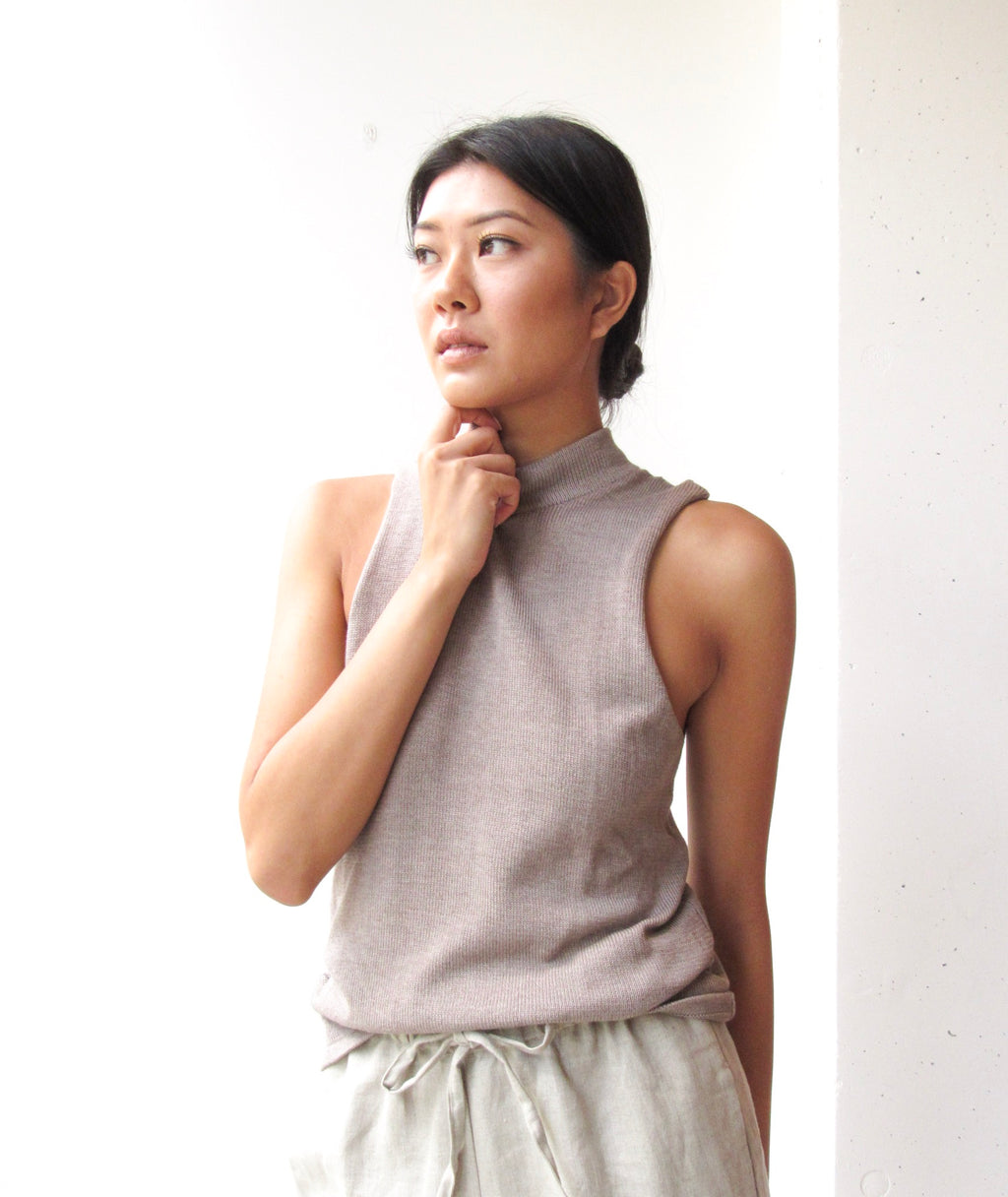 Soft Sleeveless Mockneck Top