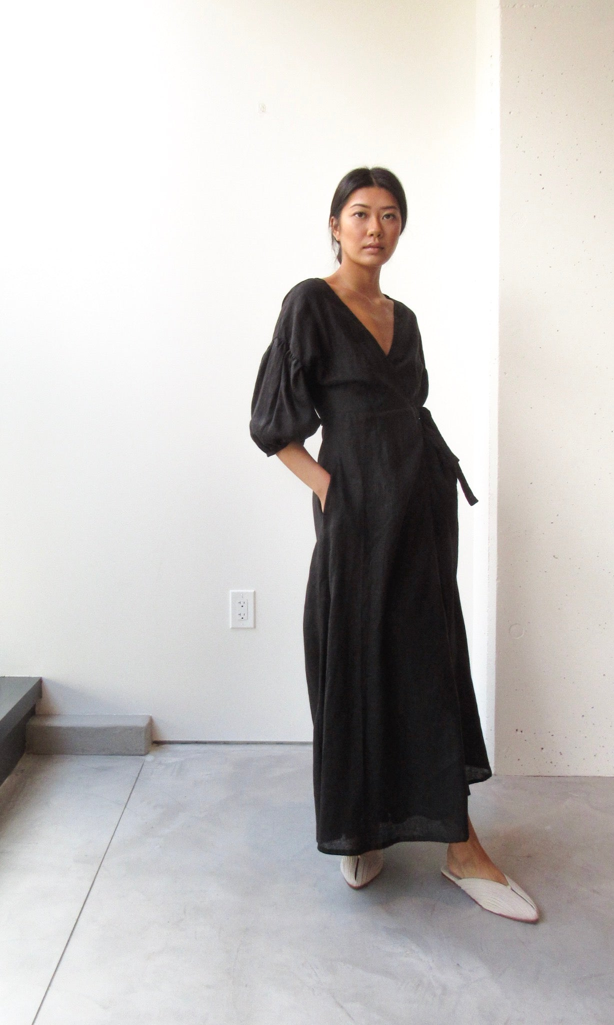 Maxi Puff Sleeve Wrap Dress