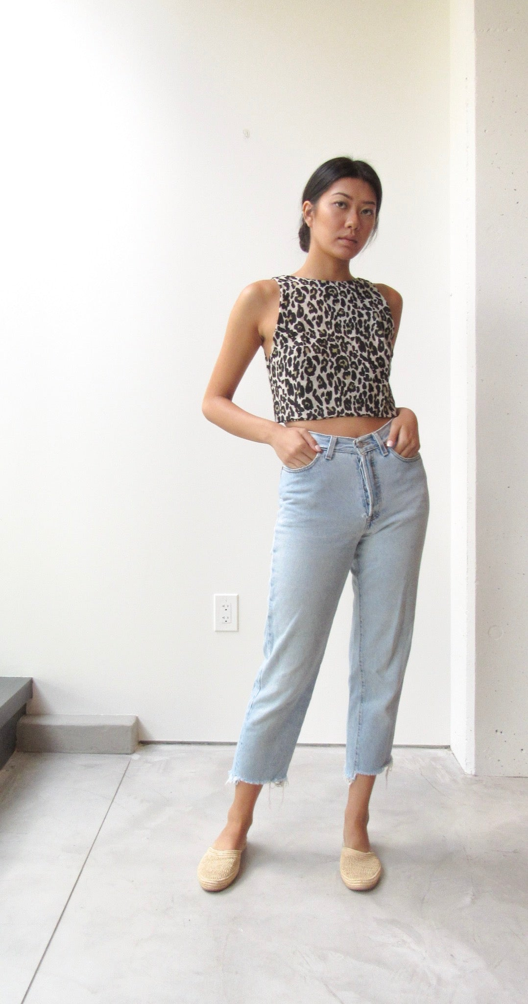 Linen Back Tie Top