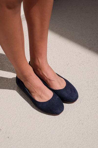 Suede Ballet Shoes [Navy]