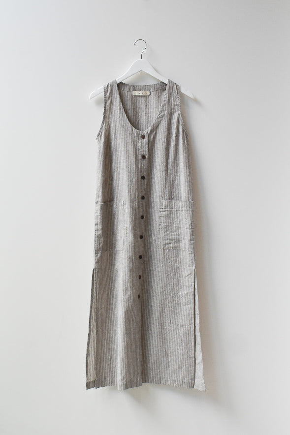 Sample Organic Hemp Cotton Tank Dress - Brown Stripe