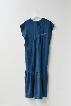 Sample Back Pleated Dress- Navy