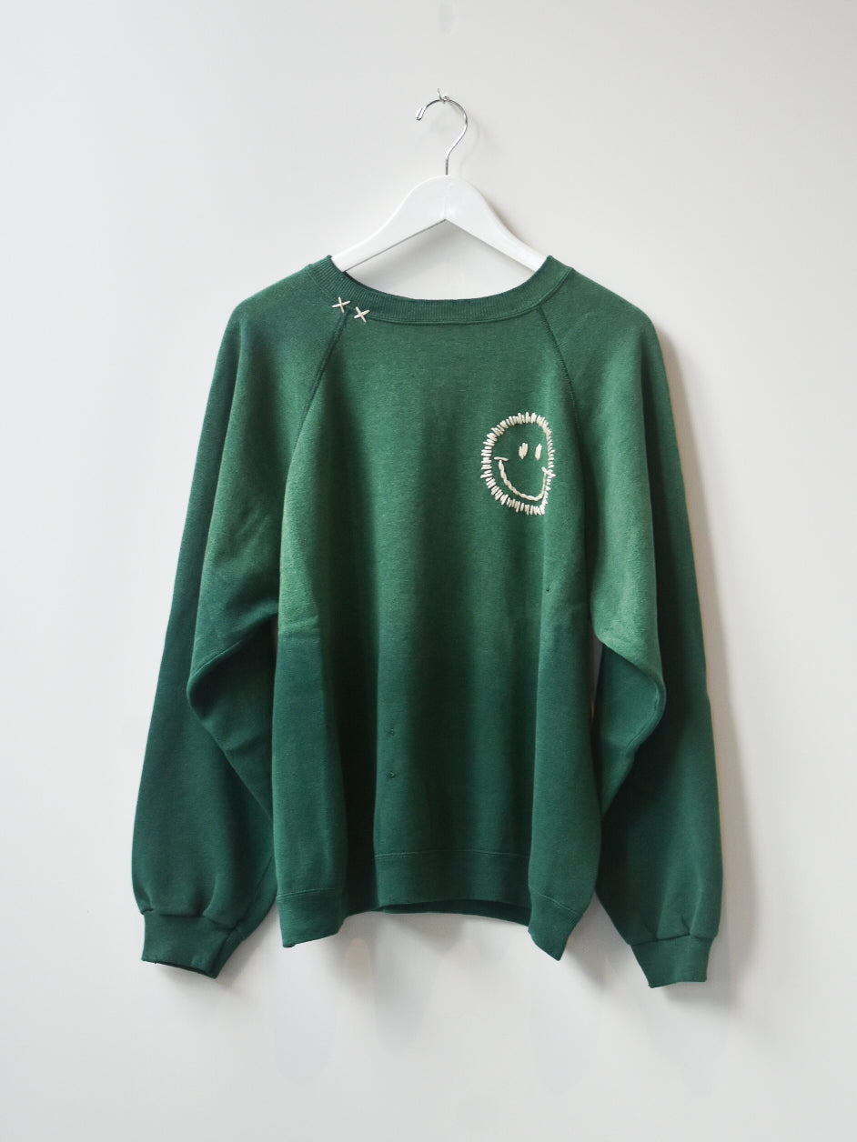 Happy Face Vintage Sweatshirt- Forest Green Wash