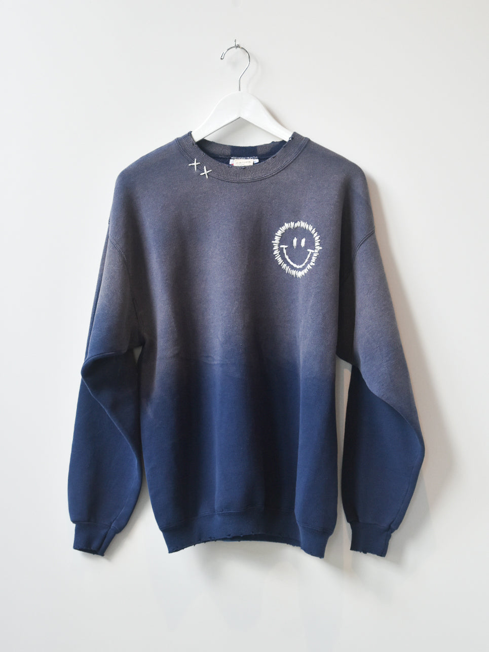 Happy Face Vintage Sweatshirt- Blue Wash