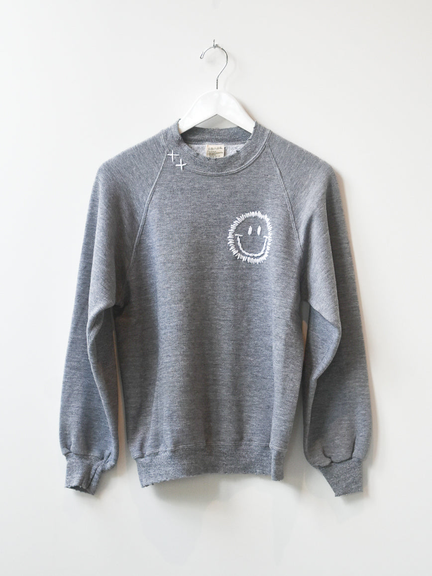Happy Face Vintage Sweatshirt - Grey