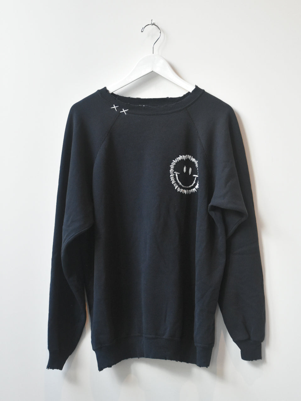 Happy Face Vintage Sweatshirt- Black