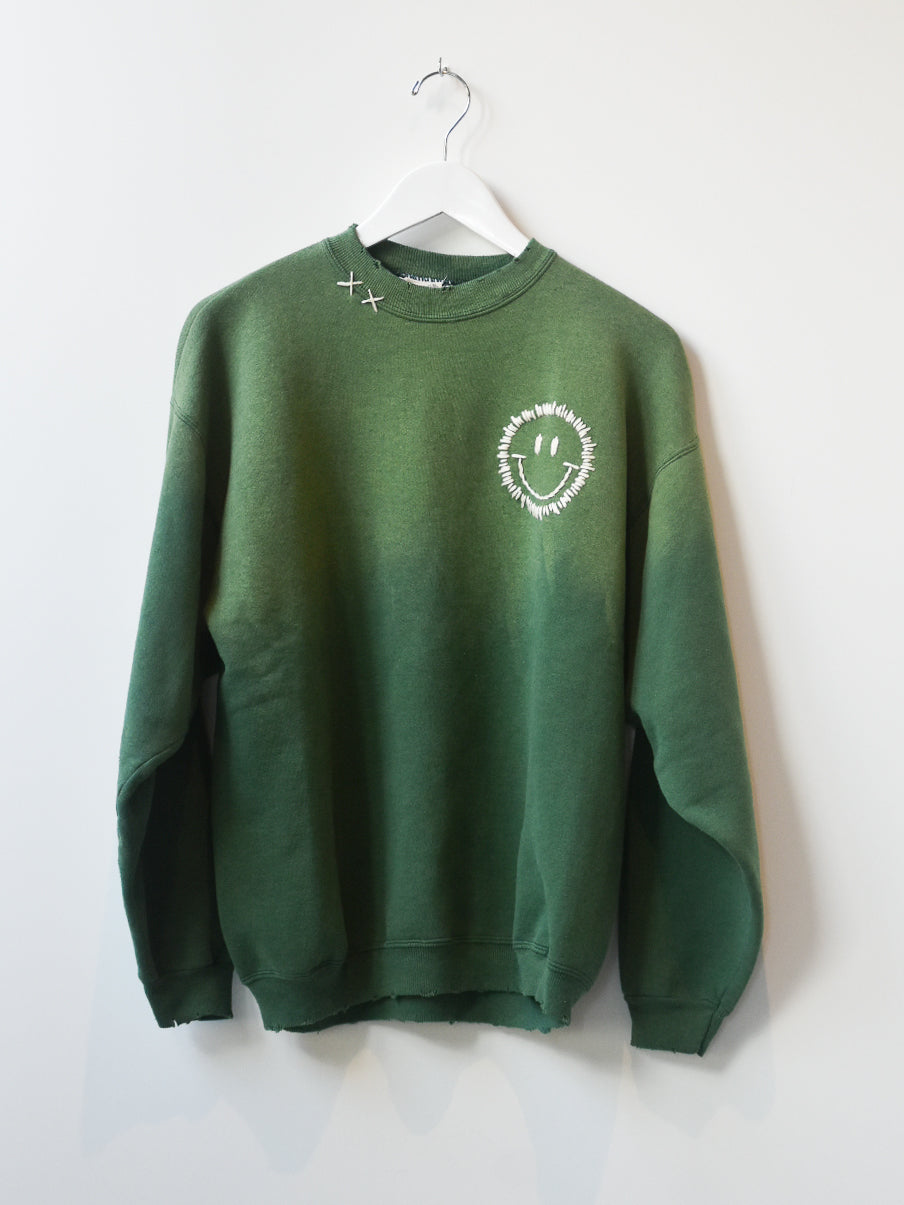 Happy Face Vintage Sweatshirt-Moss Fade