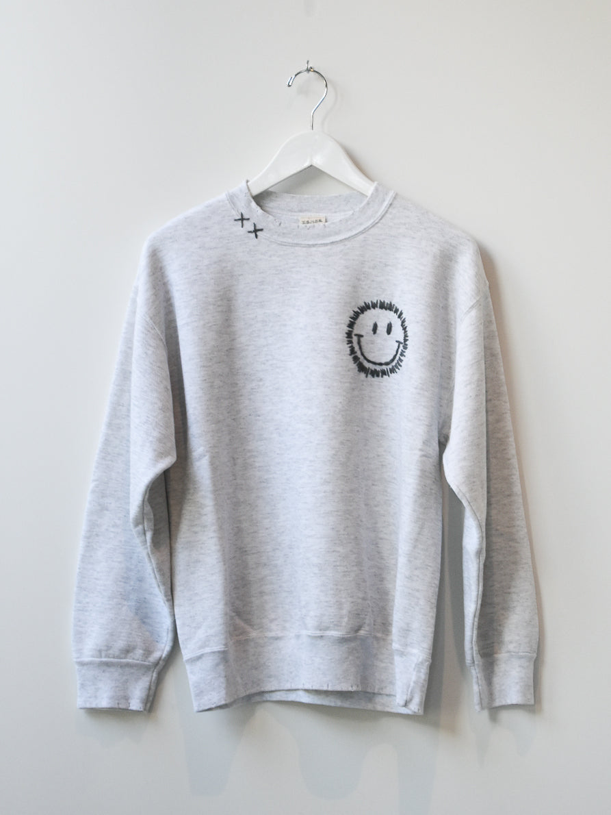 Happy Face Vintage Sweatshirt - Heather Grey