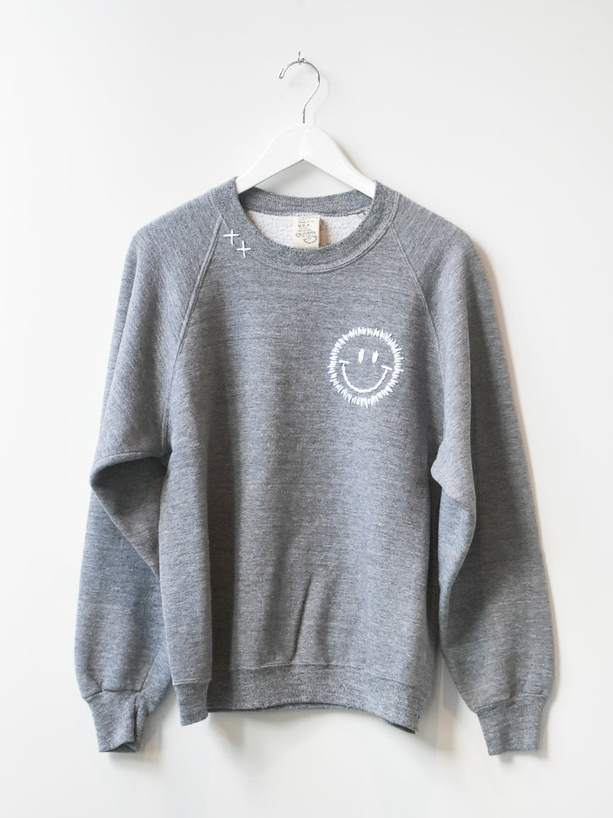 Happy Face Vintage Sweatshirt- Grey