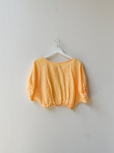 Sample Back Open Puff Sleeve Top - Yolk