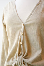 Reversible Linen Crinkle Top