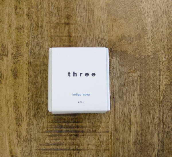 three | Indigo soap