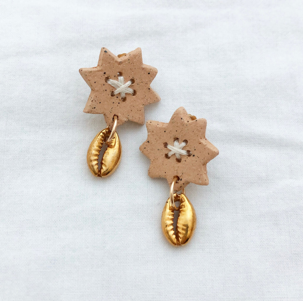 Sun Earrings with Cowrie Shell
