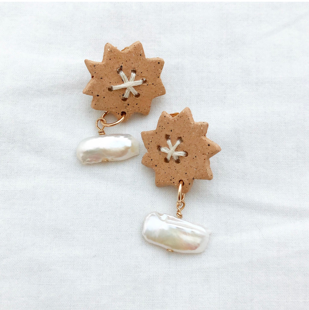 Sun Earrings with Pearl