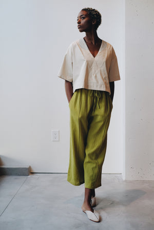 Draw String Wide Pants (Crinkle Linen)