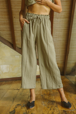 Linen Crinkle Wide Pants