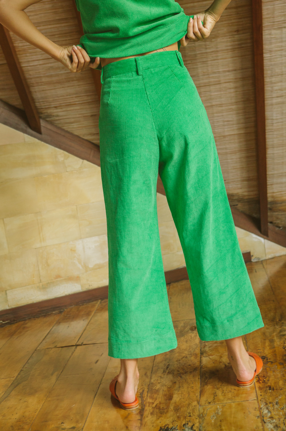 Corduroy High-Waisted Pants