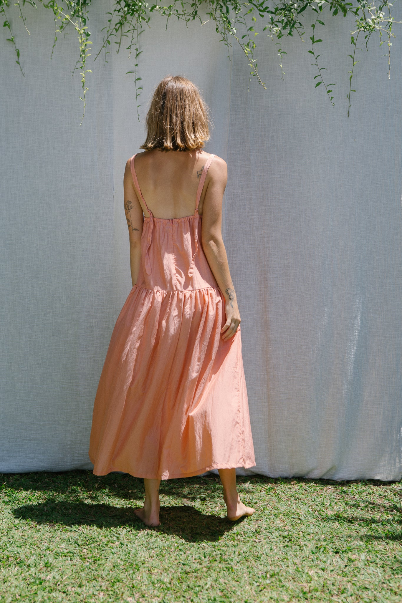 Sample Apron Long Dress - Coral Almond