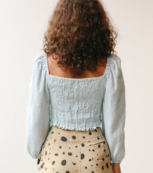 Puff Sleeve Crop Top - Long Sleeve