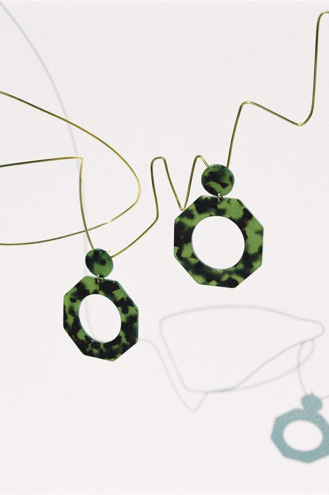 Clef Earrings -Green Tortoise