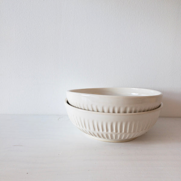 Pasta Bowl (White Carved)