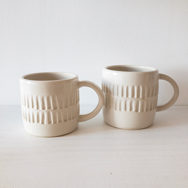 Mug Cup (White Carved)