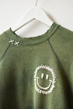 Happy Face Vintage Sweatshirt-Green/White