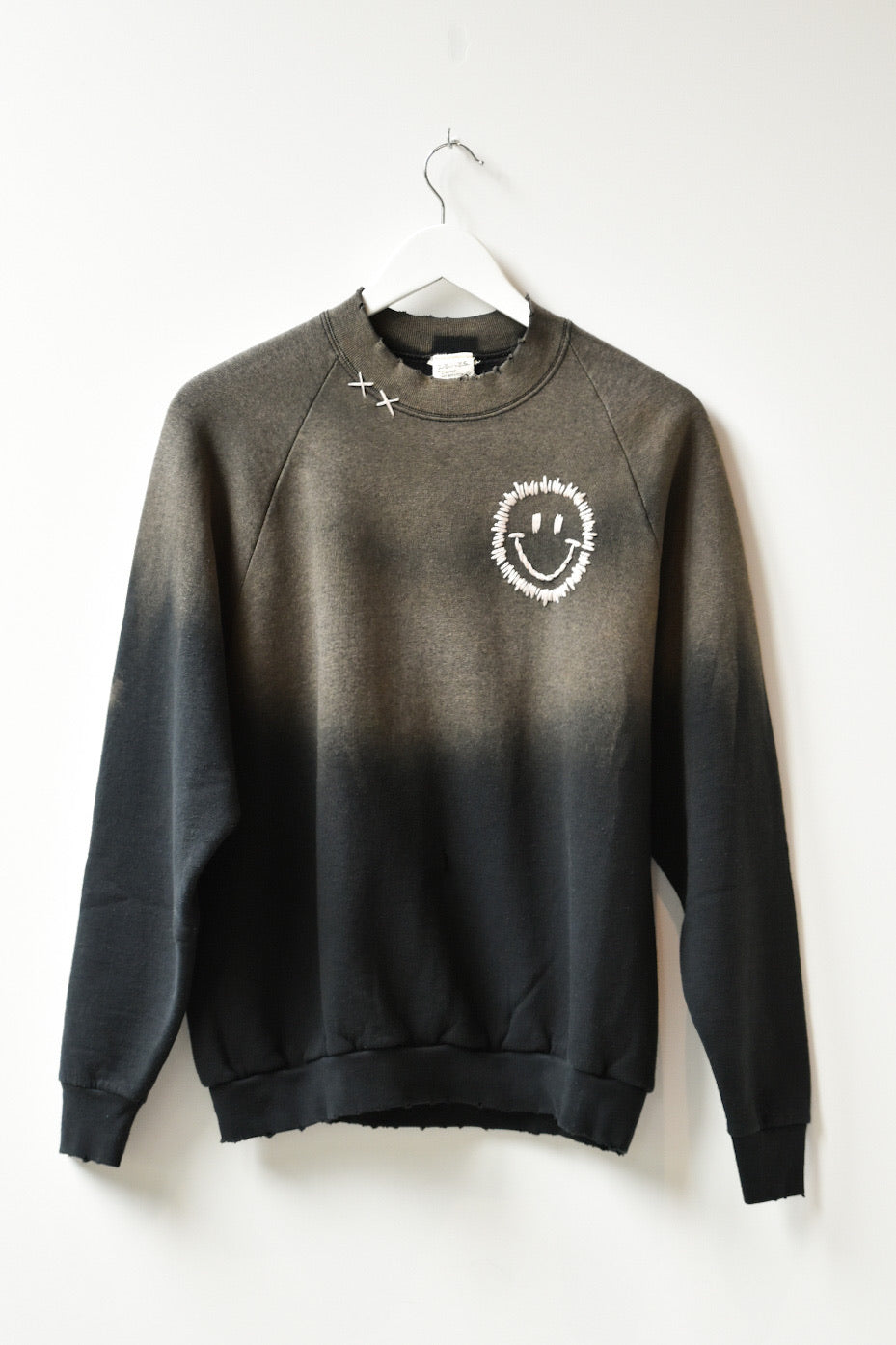 Happy Face Vintage Sweatshirt-Fade Black/White