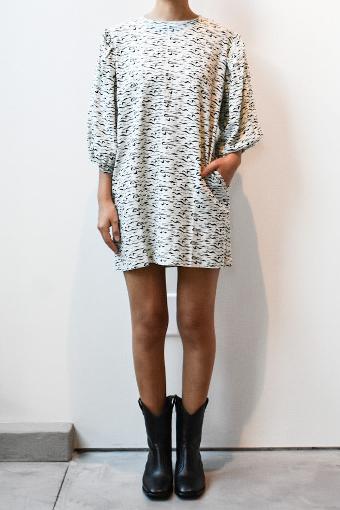Puff Sleeve Short Dress - Zebra