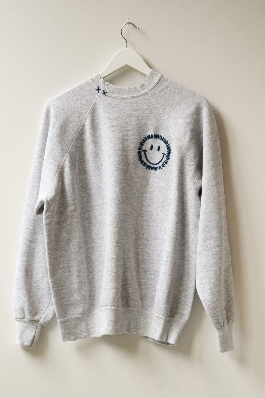 Happy Face Vintage Sweatshirt-H.Grey/Navy