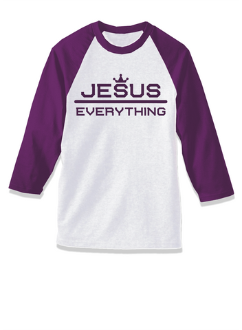 3/4 Baseball Style Jesus Over Everything T-Shirt Royal  Purple