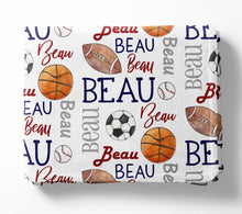 Load image into Gallery viewer, Personalized Kid Blanket - All Sports - The Little Arrows