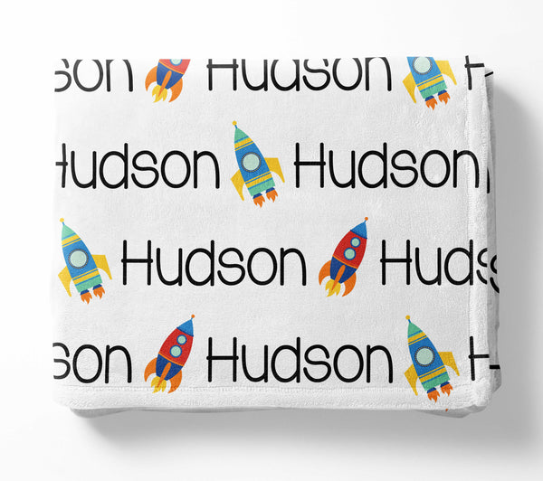 Personalized Plush Blanket - Space Rocket
