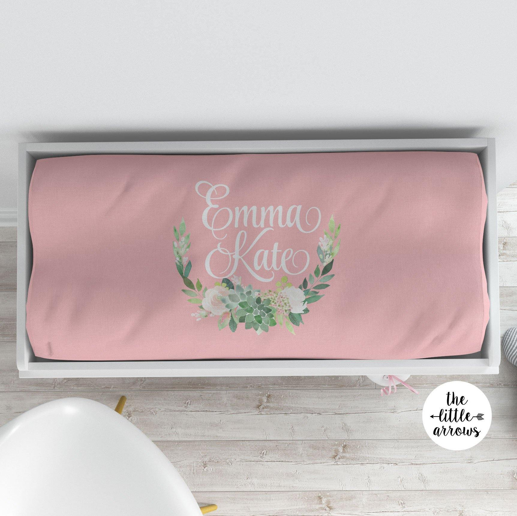 Personalized Changing Pad Cover - Succulent Wreath