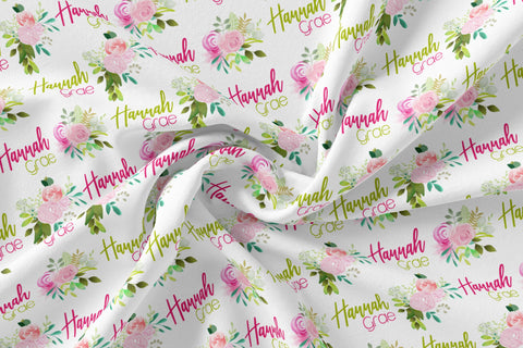Personalized Jersey Knit Swaddle - Peonies and Roses - the Hannah Grae collection