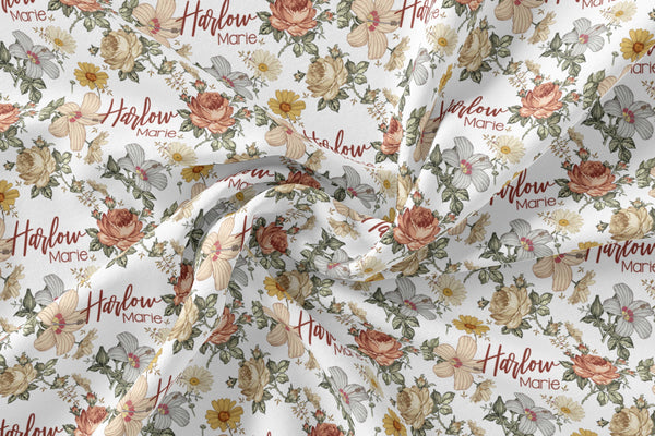 Personalized Jersey Knit Swaddle - Vintage Floral - the Harlow collection