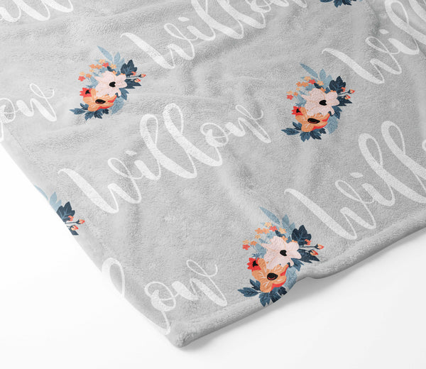 Personalized Plush Blanket - Willow Floral