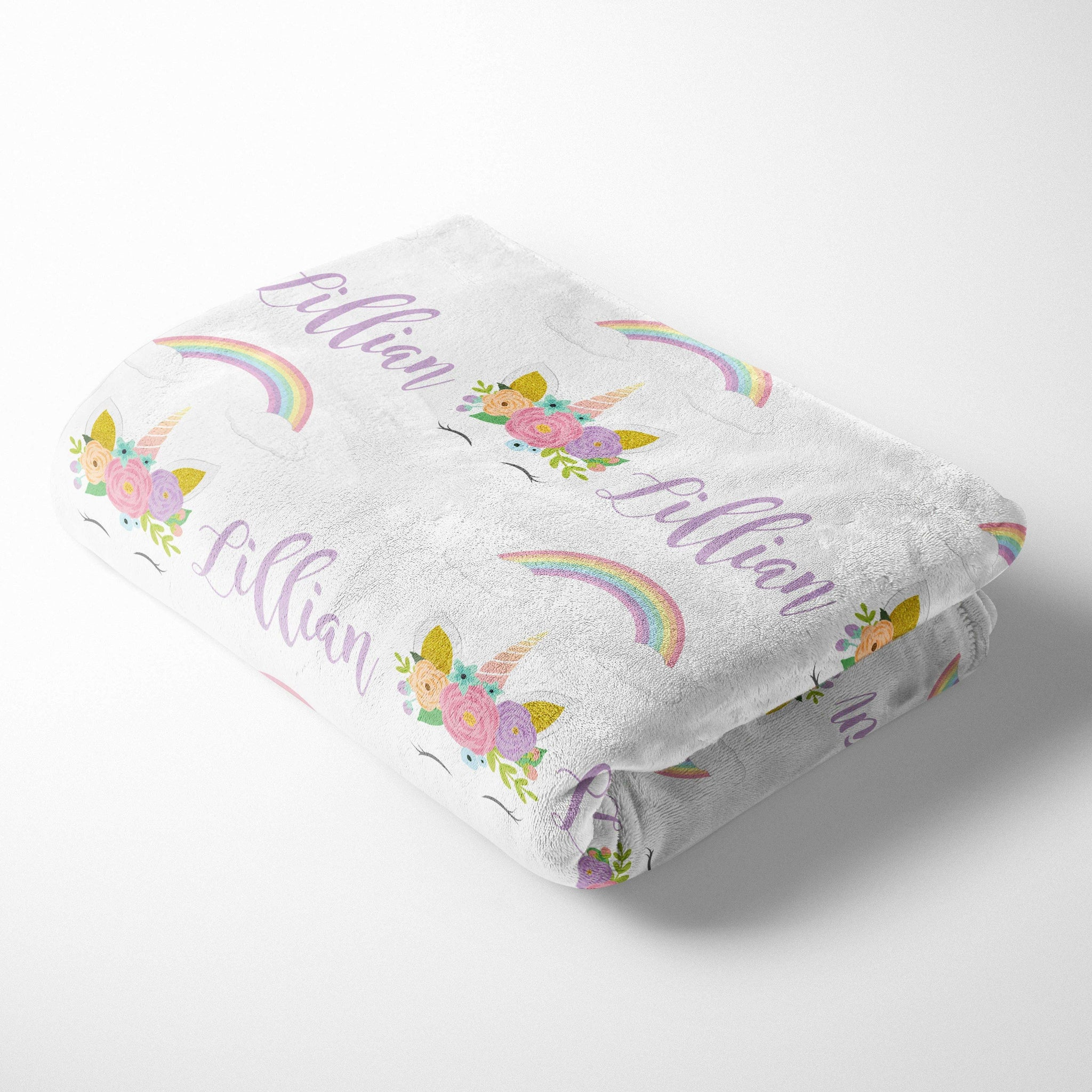 Personalized Kid Blanket - Unicorn and Rainbows