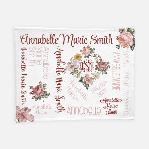 Personalized Minky Fleece Blanket - Vintage Floral - the Harlow collection - pink colorway