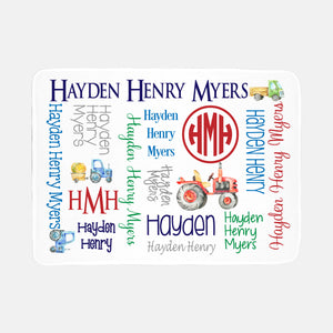 Personalized Minky Fleece Blanket - All over Vintage Tractors