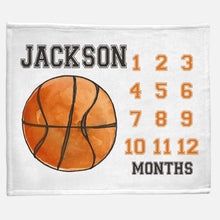 Load image into Gallery viewer, Milestone / Monthly Blanket - Basketball - The Little Arrows