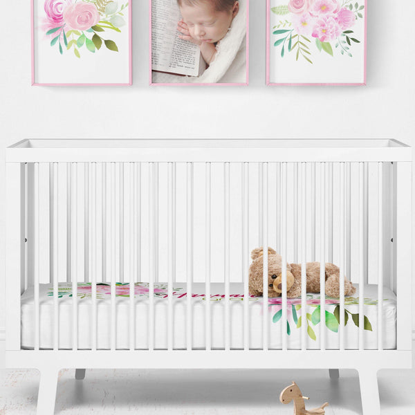 Personalized Crib Sheet - Watercolor Pink Floral