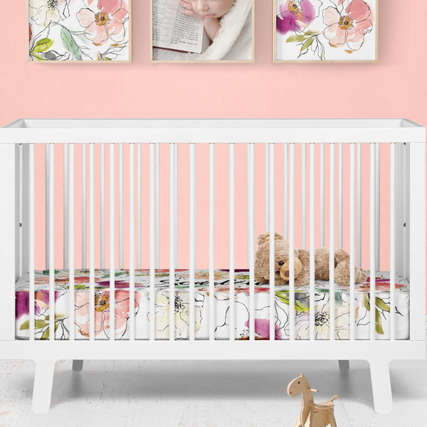 Personalized Crib Sheet - Floral Modern