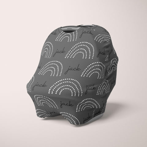 Car Seat Cover / Multi Use Cover - Dotted Rainbow charcoal