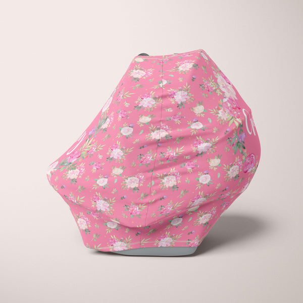 Car Seat Cover / Multi Use Cover - Floral Pink