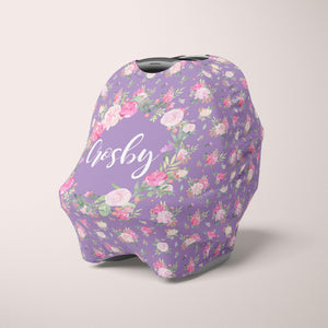 Car Seat Cover / Multi Use Cover - Floral Purple