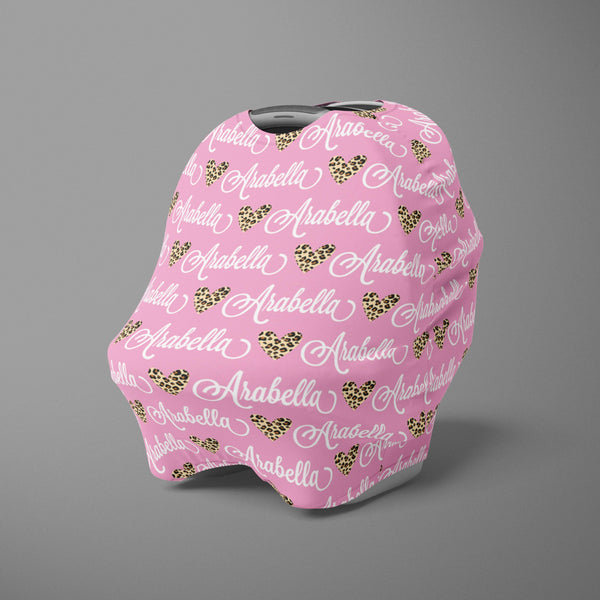 Car Seat Cover / Multi Use Cover - Leopard Heart pink